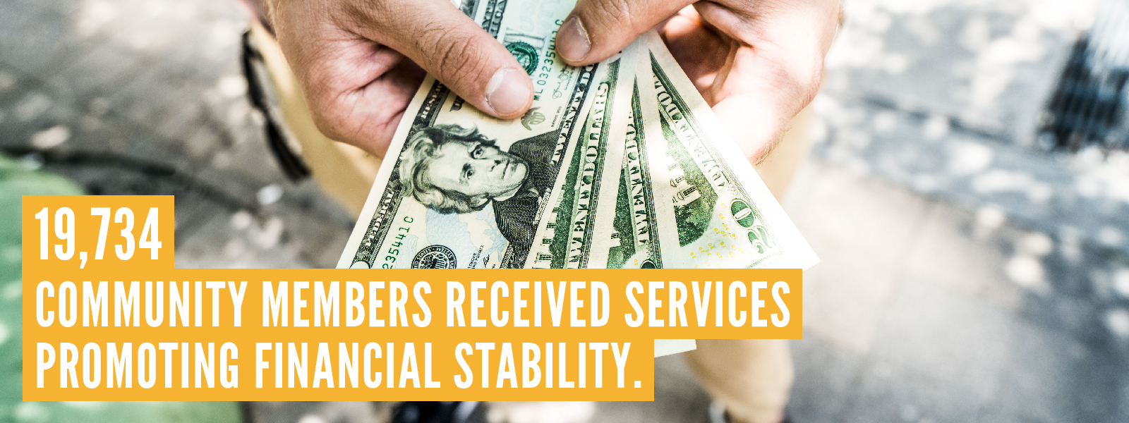 19,734 community members received services promoting financial stability